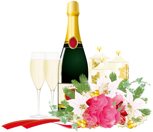 シャンパングラスとシャンパン